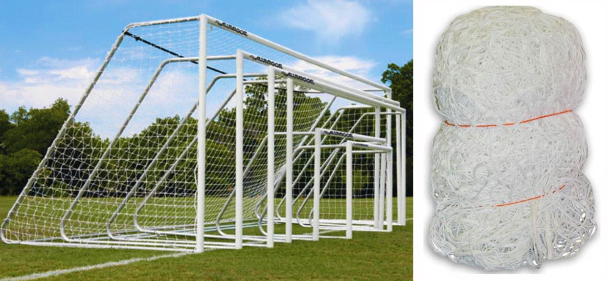 "Replacement Net for Aluminum Soccer Goal; White, Braided Polyethylene Soccer Netting with 4.5"" x 4.5"" Square Mesh."
