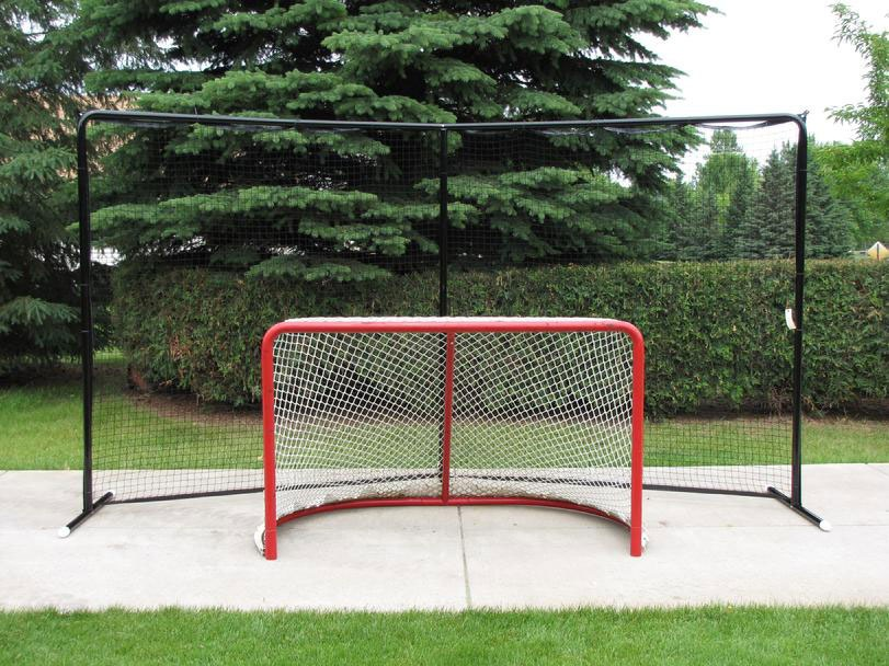 Steel Backstop in 3 Sizes: 3-Pole Angled 14.5x7.5, 2-Pole Straight 14.5 x 7.5, 3-Pole Straight 20' x 10'; All Backstops with Black Powder-Coated Finish.