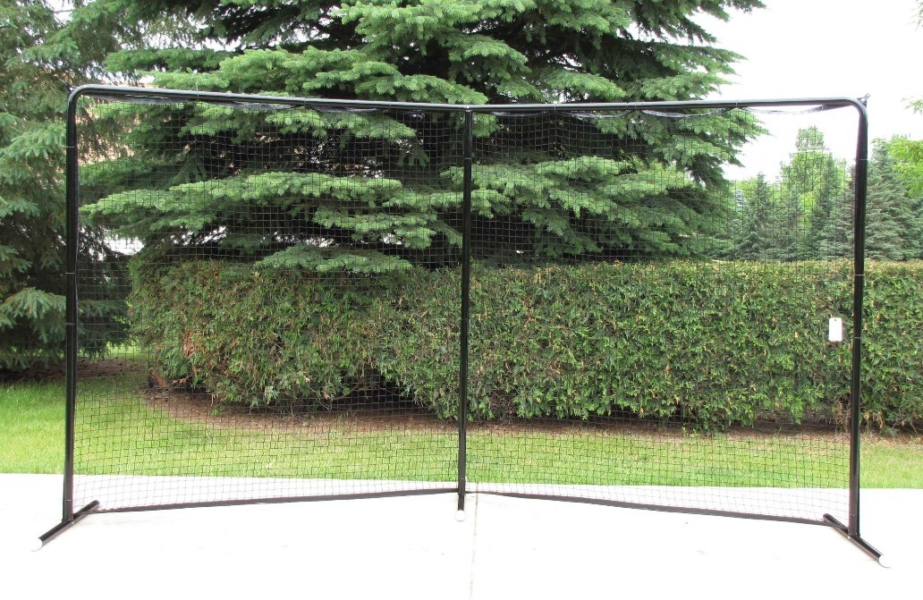 14.5' x 7.5' Angled, Self-Standing, 3-Pole Steel Backstop with Premium Black Powder-Coated Finish; Great for Containing Balls and Pucks in Your Backyard.
