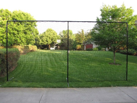 20' x 10' Straight, Self-Standing, 3-Pole Steel Backstop with Premium Black Powder-Coated Finish; Great for Containing Balls and Pucks in Your Backyard.