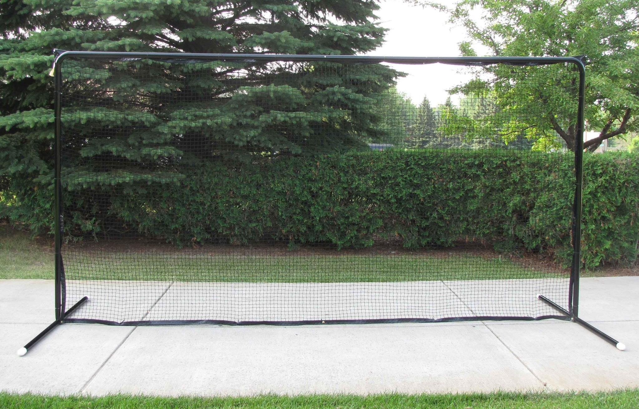 14.5' x 7.5' Straight, Self-Standing, 2-Pole Steel Backstop with Premium Black Powder-Coated Finish; Great for Containing Balls and Pucks in Your Backyard.