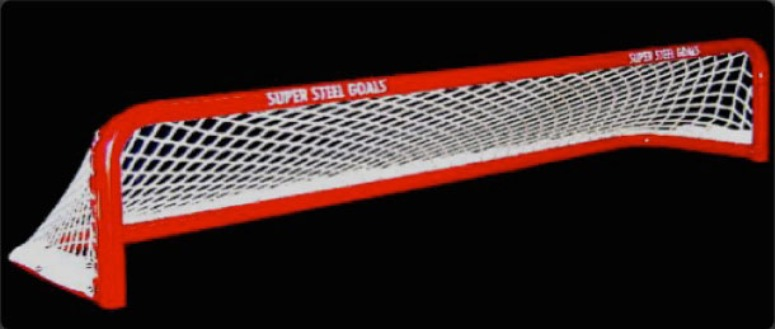 "6'L x 8""H Steel Pond Hockey Goal Frame with 3 openings; 16"" Rectangular Base Depth; Welded Lacing Bar for Attaching Net; Premium Red Powder-Coated Finish."