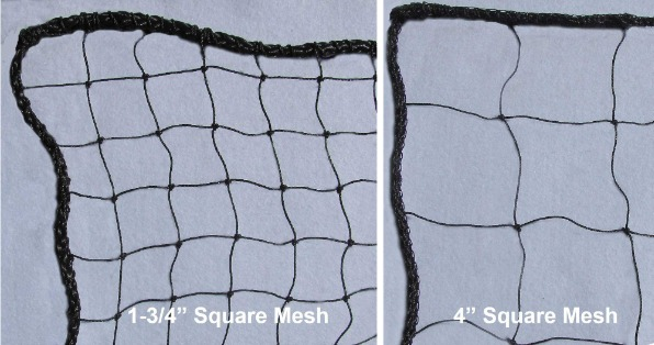 "Medium-Impact Barrier Netting; 1-3/4"" and 4"" Mesh Panels; Full Rope Border; In-Stock Nets 10', 12', and 14' High, and Up to 100' Long; Weather Resistant."