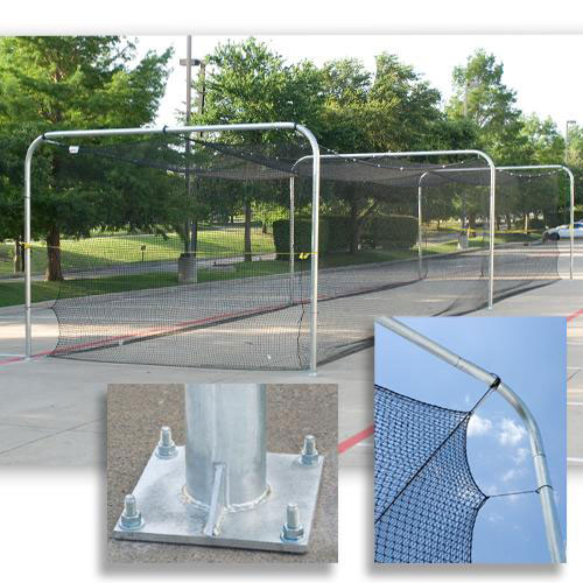 Batting Tunnel Frames are Heavy-Duty Galvanized Steel Pipes and Come in 3-Section Frames for a 55' Tunnel and 4-Section Frames for a 70' Tunnel.
