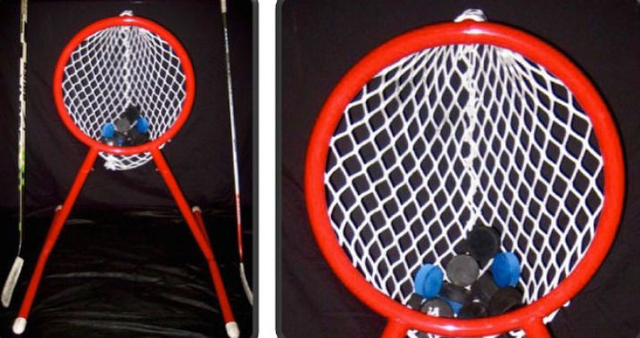 "4' High Steel Hockey Training Goal with 26"" Diameter Circular Opening; Welded Lacing Bar for Attaching Net; Great for Hockey Shooting Practice."