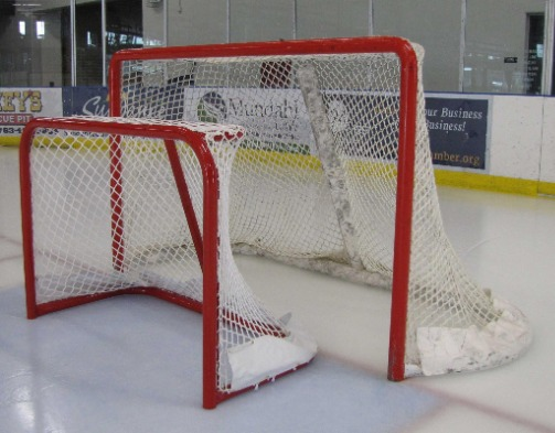 "Steel Cross-Ice Hockey Goals, Made in the USA, with Welded Lacing Bar for Net Attachment. Age 8U Players. Size 4'6"" x 3' and 4' x 3'."