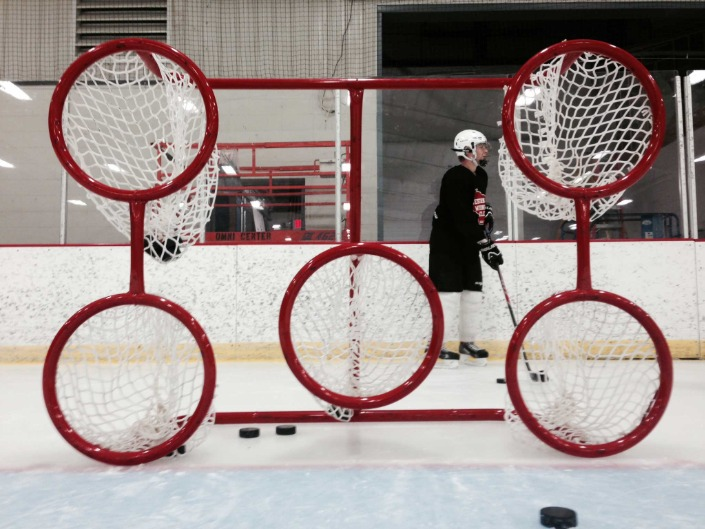 6' x 4' Steel Hockey Training Goal Front with Five Circular Shooting Holes; Welded Lacing Bar for Attaching Net; For Hockey Shooting Practice and Accuracy.