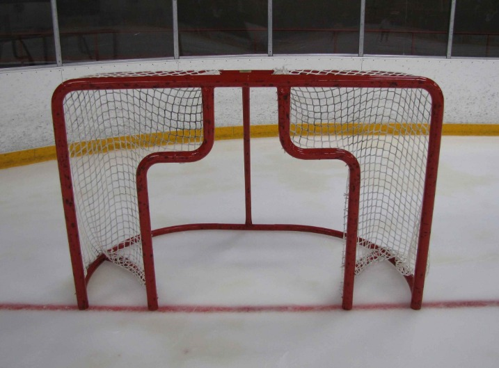 6' x 4' Steel Hockey Training Goal Front with Two Shooting Target Area, Each Side of Goalie; Welded Lacing Bar for Attaching Net; For Hockey Shooting Practice.