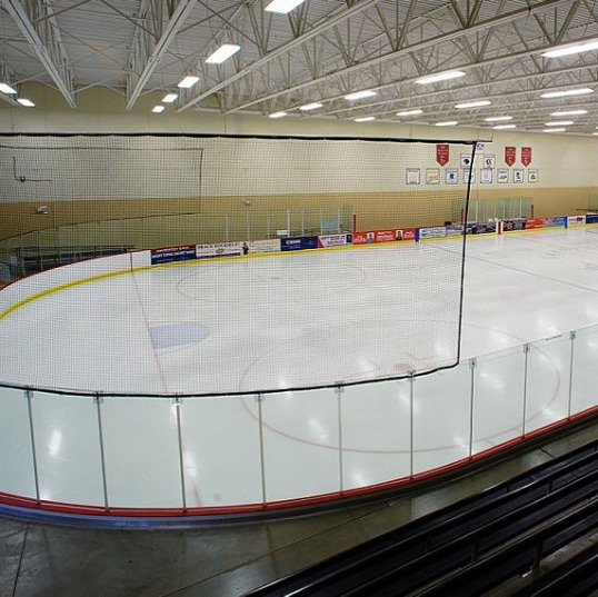 Hockey Barrier Nets; Outdoor #21 Medium-Impact and #42 High-Impact Netting; For Home, Behind the Hockey Goal, Surrounding the Entire Ice.