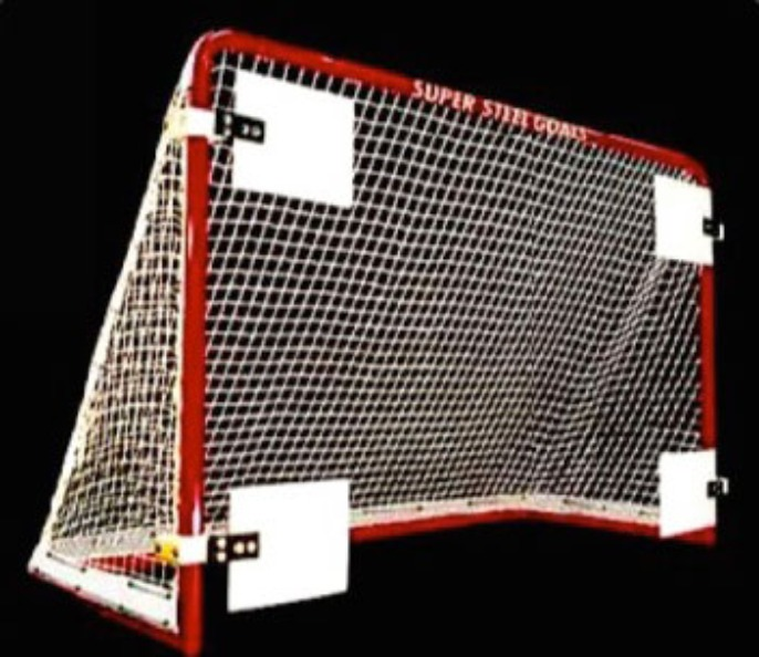 "6' x 4' Steel Hockey Goal Frame; 28"" Rectangular Base Depth, 1-3/4"" Steel Tubing, and Welded Lacing Bar for Attaching Net; Premium Red Powder-Coated Finish."