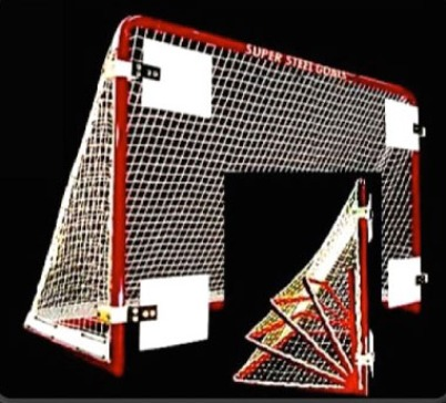 "6' x 4' Folding Steel Hockey Goal Frame; 28"" Rectangular Base Depth; 1-3/4"" Steel Tubing; Welded Lacing Bar for Attaching Net; Red Powder-Coated Finish."
