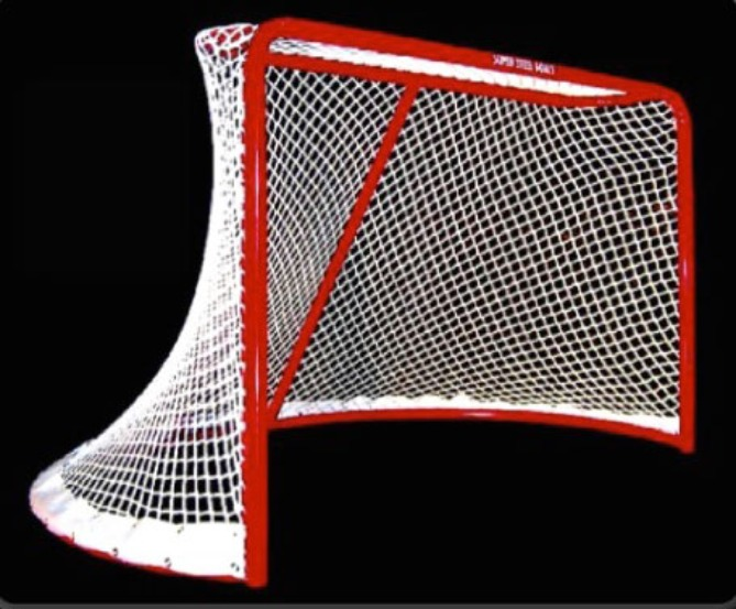 "6' x 4' Steel Hockey Goal Frame; 40"" Rounded Base Depth, 2-1/4"" Steel Tubing, and Welded Lacing Bar for Attaching Net; Premium Red Powder-Coated Finish."