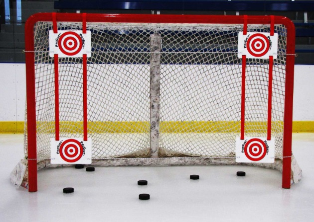 Hockey Shooting Targets for Players 12 and Under to Improve Shooting Accuracy; Fits Any Size Hockey Goal; Easy to Attach and Adjust Position of Targets.