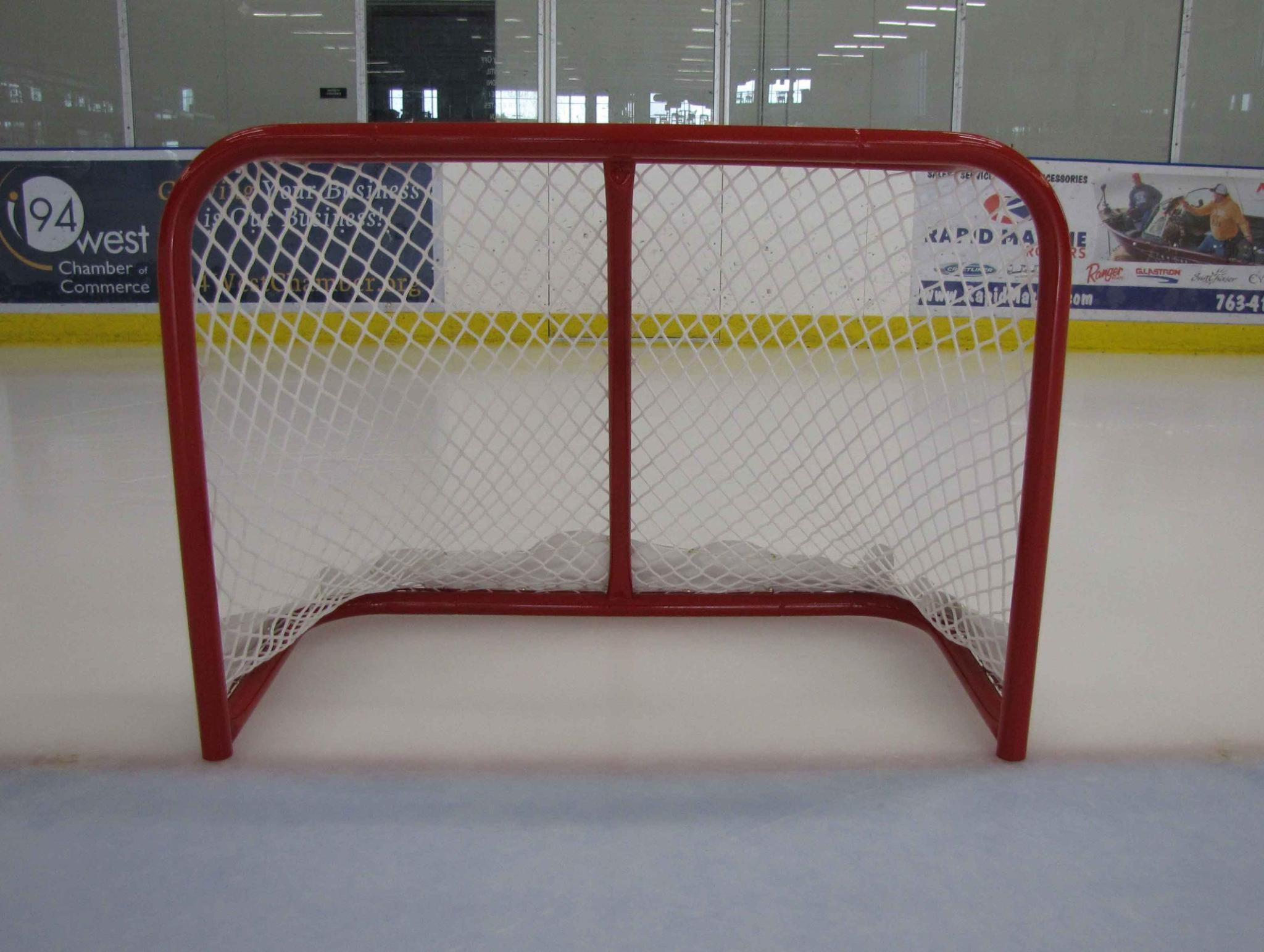 "4' x 3' Cross-Ice Steel Hockey Goal Frame; 24"" Rectangular Base Depth; Welded Lacing Bar for Attaching Net; Red Powder-Coated Finish; Age 8U Players."