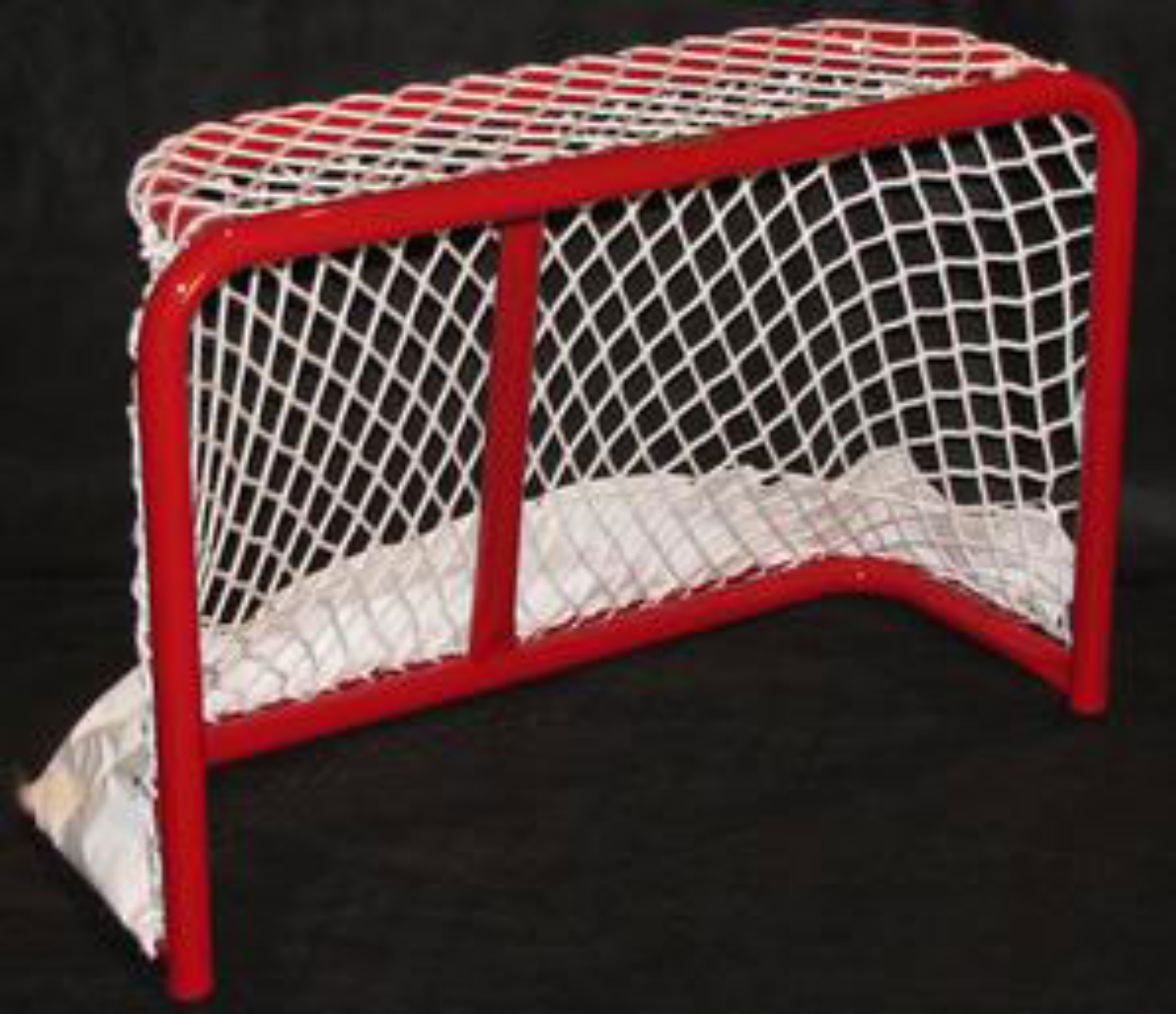 "3' x 2' Steel Hockey Goal Frame; 20"" Rectangular Base Depth; Welded Lacing Bar for Attaching Net; Red Powder-Coated Finish; Age 6U Players, No Goalie."