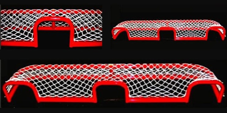 "6'L x 9""H Steel Pond Hockey Goal Frame; 3 Shooting Holes; 13"" Rectangular Base Depth; Welded Lacing Bar for Attaching Net; Premium Red Powder-Coated Finish."