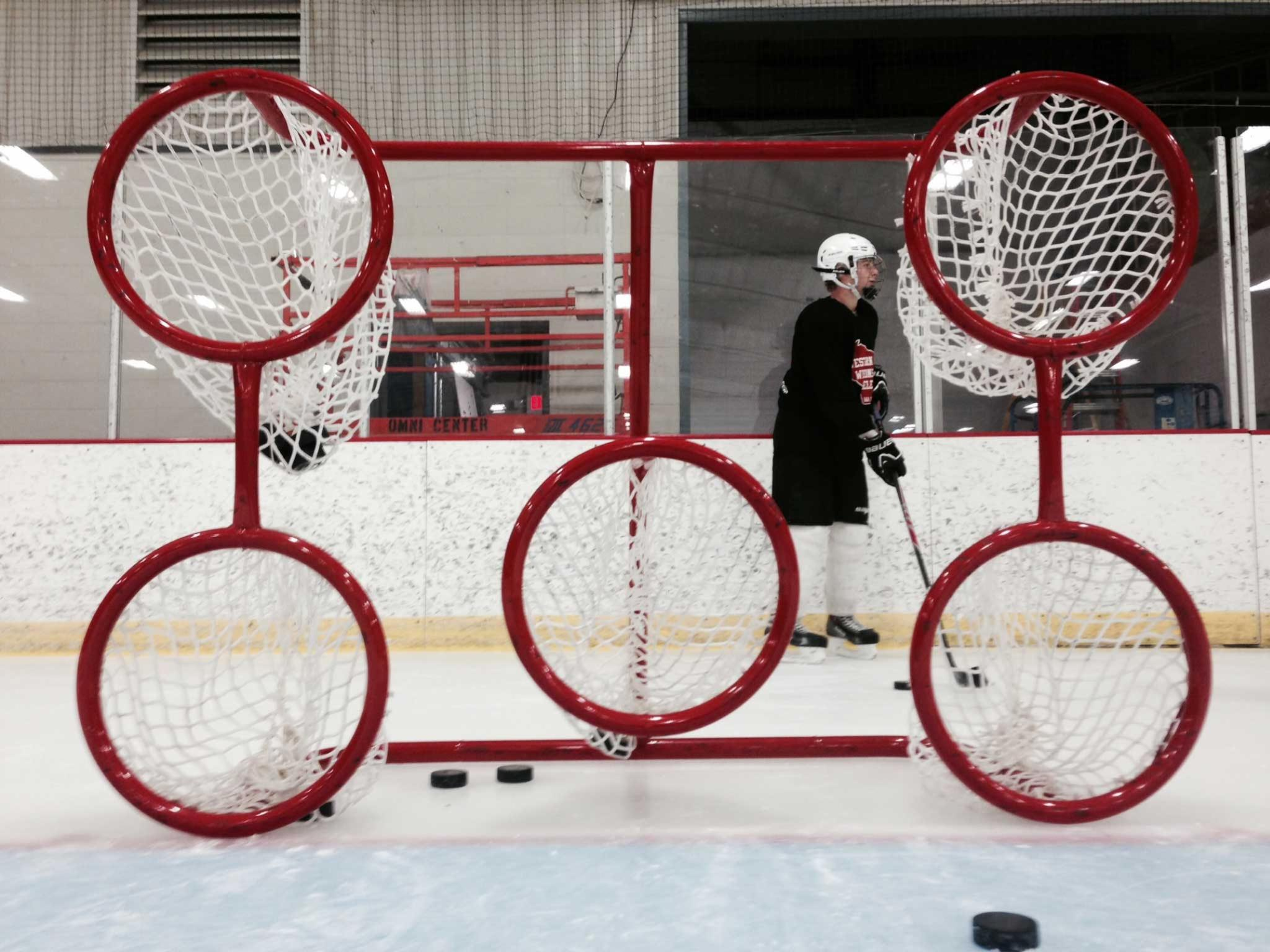 Steel Hockey Training Goals for Shooting Practice and Accuracy, Made in the USA, with Welded Lacing Bar for Net Attachment.