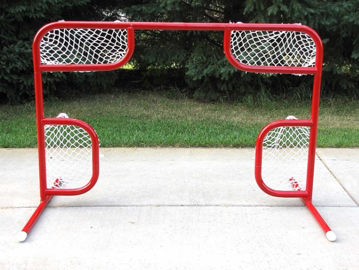 6' x 4' Steel Hockey Training Goal Front with Four Corner Shooting Holes; Welded Lacing Bar for Attaching Net; For Hockey Shooting Practice and Accuracy.