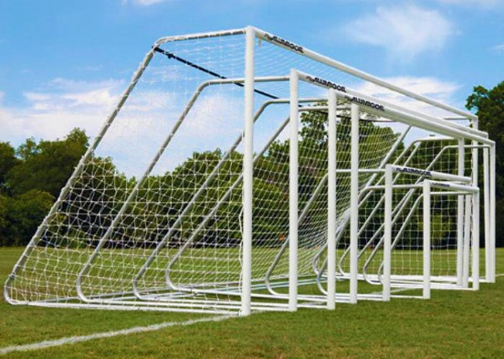 Heavy-Duty Steel Soccer Goals with White Powder-Coated Finish; Aluminum Soccer Goals with White Powder-Coated Finish or Natural Aluminum Front Posts.