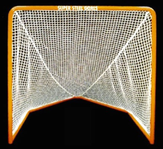 6' x 6' Steel Lacrosse Goal Front with 7' Deep Obtuse Base and Rounded Mandrel Bend Upper Corners; Premium Orange Powder-Coated Finish.