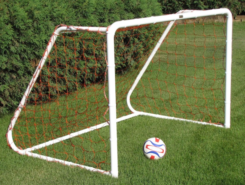 Heavy-Duty Steel Soccer Goal with Quality White Powder Coat Finish; 6' x 4' with 5' Base Depth and 2' Top Shelf Depth.