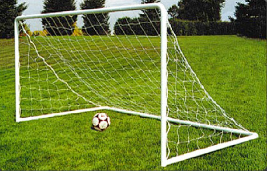 Heavy-Duty Steel Soccer Goal with Quality White Powder Coat Finish; 9.5' x 4.5' with 5' Base Depth or 6.5' x 4' with 3' Base Depth.