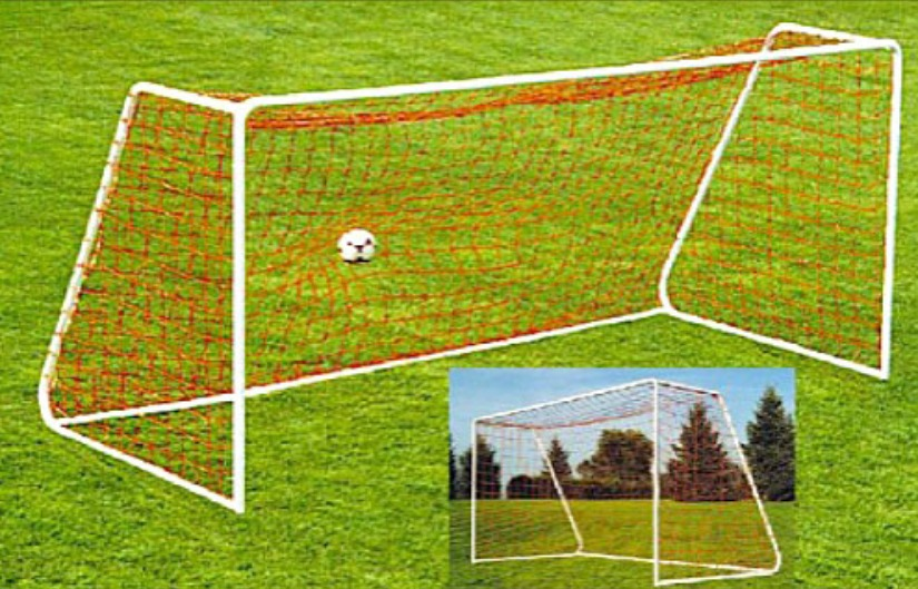 Heavy-Duty Steel Soccer Goal with Quality White Powder Coat Finish; 12.5' x 6.5' with 6' Base Depth and 2' Top Shelf Depth.