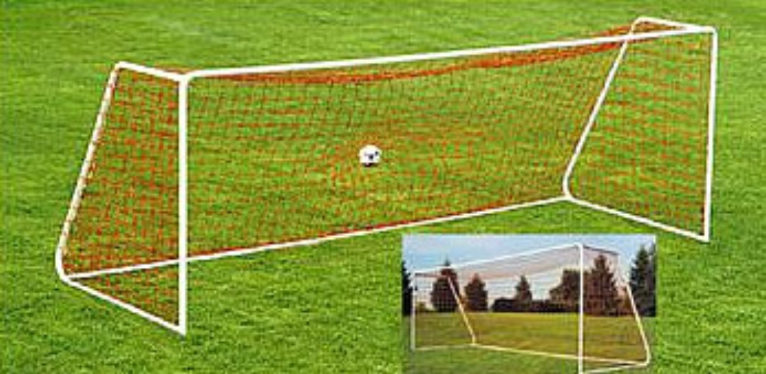 Heavy-Duty Steel Soccer Goal with Quality White Powder Coat Finish; 18' x 6.5' with 6' Base Depth and 2' Top Shelf Depth.