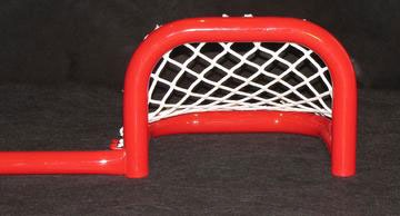 "6'L Steel Pond Hockey Goal Frame with Two Scoring Pockets, 9""H x 12""W, Front View."