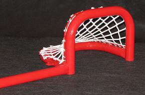 "6'L Steel Pond Hockey Goal Frame with Two Scoring Pockets, 9""H x 12""W, Side View."